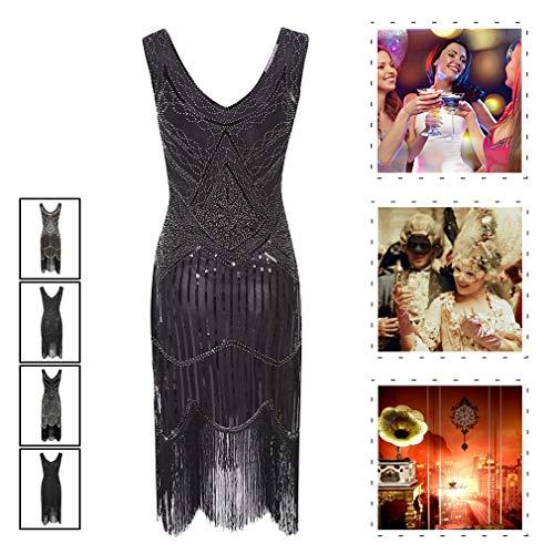 Flapper Fringe Kostüm - YIXIJIE 1920er Jahre Kleider für Frauen, Flapper Tassel Dress - Pailletten Fringe für Gatsby Party/Party Prom/Kostüm verschönert,D,2XL