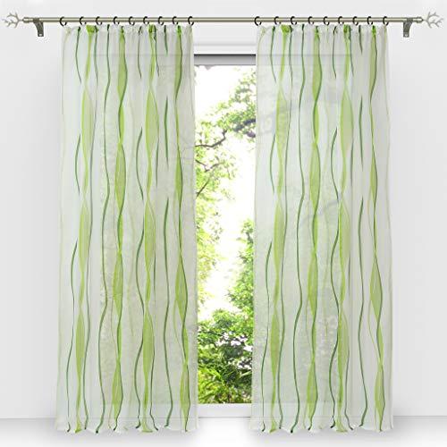 HongYa 1er-Pack Voile Gardine Transparenter Vorhang mit Kräuselband Wellen Druck H/B 225/140 cm Creme Grün