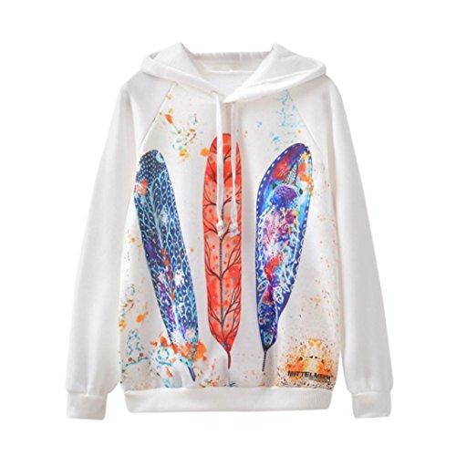 Morwind Sweat à Capuche Femme, feuilles colorées imprimé hoodies femme sweatshirt pullover femme chic Blanc