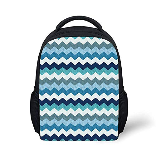 Kids School Backpack Aqua,Retro Vintage Chevron Geometrical Zig Zag Stripes Decorative,Turquoise Light Blue Navy Blue and Seafoam Plain Bookbag Travel Daypack -