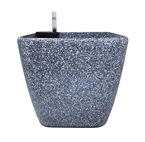 SONNIG Pflanzentopf,Blumentopf,Übertopf,Kräutertopf mit Wasserstandsanzeige,Granit, 21x21cm,