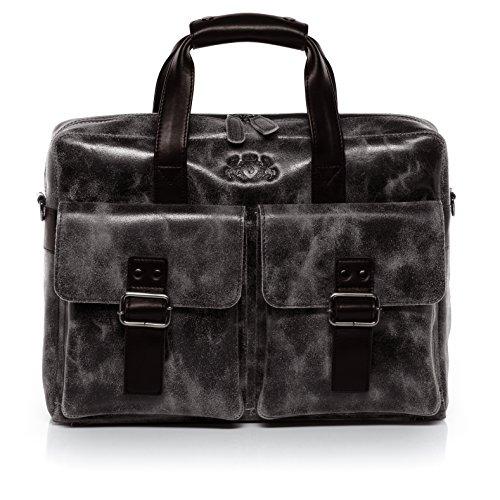 SID & VAIN® Laptoptasche HARVEY - Unisex Notebooktasche groß Ledertasche fit für 13