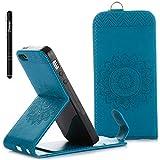 Slynmax Coque pour iPhone 5/5S/SE, Flip Clapet 2 en 1 Housse Protecteur en Cuir PU...