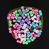 AiCheaX 50pcs adesivi per unghie bastoncini di fimo Bowknot 3D nail art decorazione aste in fimo di argilla polimerica per unghie fai da te design Fimo Beauty - (Colore: Bowknot)