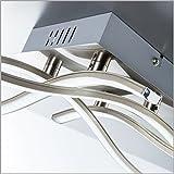 BKLicht-LED-Ceiling-Light-for-Living-Room-I-Bedroom-Dining-Room-I-Warm-White-I-Modern-and-elegant-curved-Design-I-Eyecatcher-I-matte-nickel-Look-I-4-x-34-W-LEDs-I-230-V-I-IP20