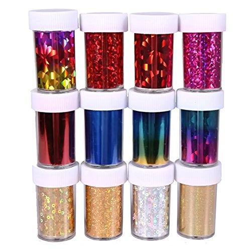 Vococal® 12 Couleurs Starry Sky/Stars Nail Art Stickers/Conseils/Wraps/Foil Transfert D'Adhésif Acrylique Glitters Décoration Bricolage Couleur Aléatoire