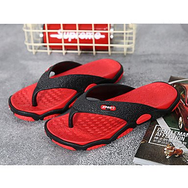 Coppia Scarpe Athletic uomini di estate PU Athletic tacco basso Magic Tape Grigio Rosso Esecuzione di San sandali US10 / EU43 / UK9 / CN44