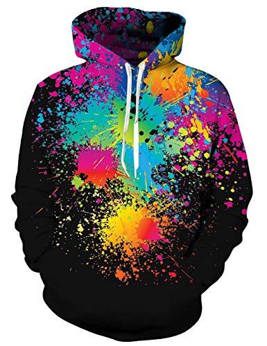 platter Hoodie Herren Bunt 3D Oil Kapuzenpullover Unisex Herbst Langarm Pullover Sweatshirt Sport Kapuze Jersey ()