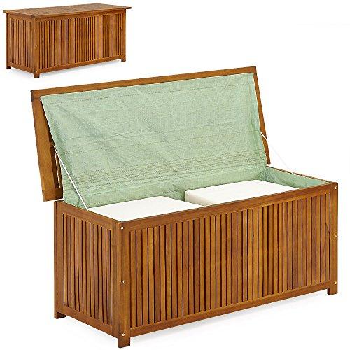 Produktbild Deuba Auflagenbox Holz   Akazie   XXL 117cm   mit Innenplane   vorgeölt   Holztruhe Holz Kissenbox Gartenbox Gartentruhe Truhe