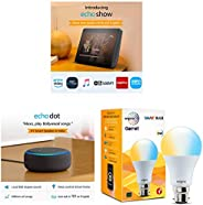 Echo Show (Black) bundle with Echo Dot (Black) and Wipro white smart bulb