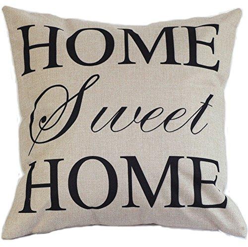 Timorr federa cuscino quadrato in cotone decorativo domestico federa di 45x 45cm (Home Sweet Home)