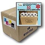 50 Bobine terminal carte bancaire papier thermique 57 x 40 x 12 m papier thermique pour CB 57 x 40 x 12 mm - Rouleaux machine
