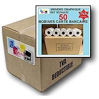 50 Bobine terminal carte bancaire papier thermique 57 x 40 x 12 m papier thermique pour CB 57 x 40 x 12 mm - Rouleaux…