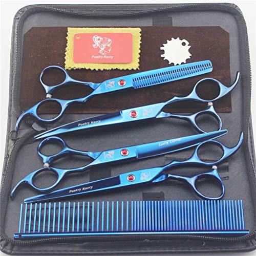 JIAHE Tijeras de peluquería Profesional para Mascotas de 7 Pulgadas, Corte Delgado y cizalla de Borde Recto y Tijeras Curvas, Acero Inoxidable japonés con Peine de Aseo