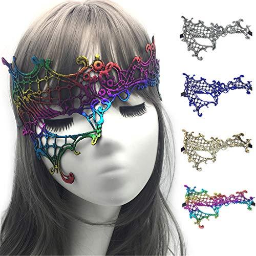 VJUKUBWINE Packung Von 4 Sexy Damen Hälfte Gesicht EIN Auge Bunt Bronzing Vintage Lace Masquerade Ausgefallene Kleid Masken Venezianischen Eyemask-Halloween Mardi Gras Party Maske