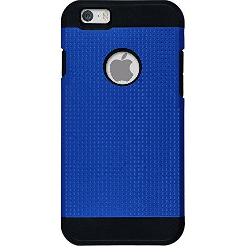 Hybridhülle für Apple iPhone 6s / 6 - ShockProof Holes pink - Cover PhoneNatic Schutzhülle + 2 Schutzfolien Blau