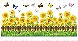 Yirenfeng Pflanzen Sie Wandaufkleber Glasblumen Umsäumende Linien Tailleaufkleber Wände Grünes Gras Schmetterlingsblumen Wandaufkleber