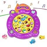 HCHENG Juego de Pesca de Mesa Juguete Musical Educativo Peces Rotativos Coloridos Juguetes Eléctricos para Niños Niñas 3 4 5 Años
