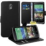 HTC Desire 526G Handy Tasche, FoneExpert® Wallet Case Flip Cover Hüllen Etui Ledertasche Lederhülle Premium Schutzhülle für HTC Desire 526G (Schwarz)