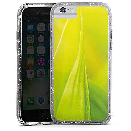 Apple iPhone 6s Bumper Hülle Bumper Case Glitzer Hülle Grashalm Leaves Blaetter Bumper Case Glitzer silber