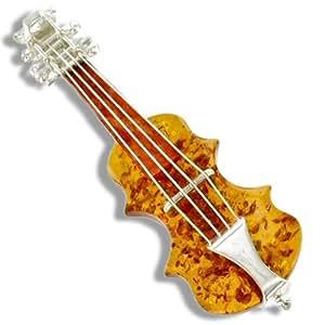 Broche violon ambre et argent