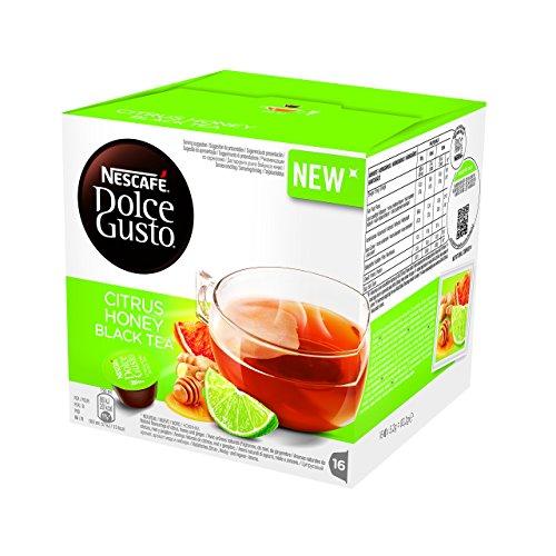 NESCAFÉ DOLCE GUSTO CITRUS HONEY BLACK TEA tè al gusto di agrumi,miele,zenzero 3 confezioni da 16 capsule [48 capsule]