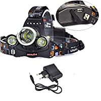 ‏‪BORUIT RJ-5000 Camping Headlamp 3x XM-L L2 LED Headlight 3000LM شاحن USB‬‏