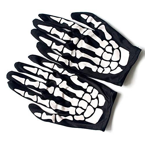 Maxgoods 5 paia di guanti da scheletro, cosplay del partito di ballo con teschio di ossa guanto, accessori per costume da dito pieno di ognissanti, accessorio per cranio per unisex