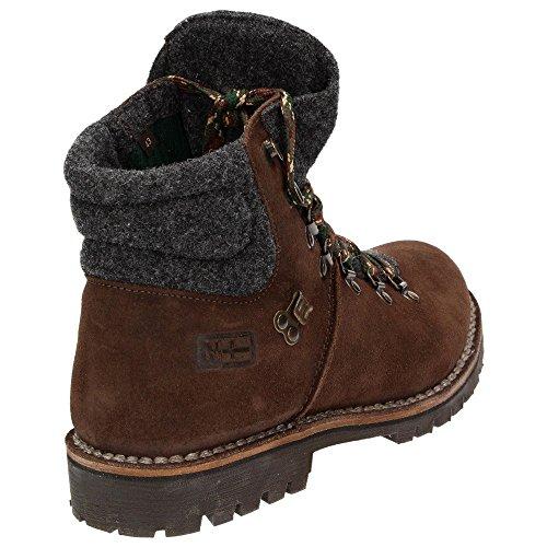 Napapijri jan mid lace 0584330–094–bottes pour homme en cuir à lacets marron foncé bottines en feutre dark brown - dark grey