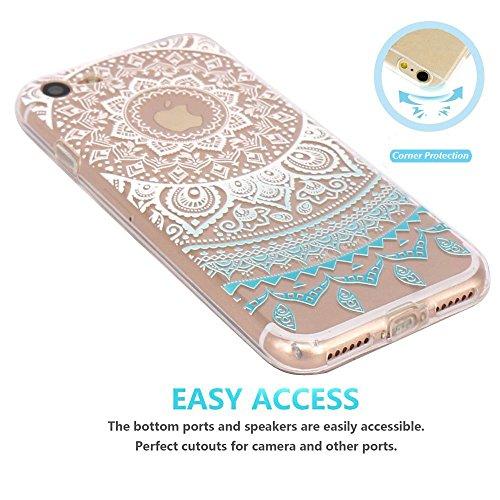 iPhone 7 / iPhone 8 Case, Walmark Beautiful Clear TPU Soft Case Rubber Silicone Skin Cover for iPhone 7 / iPhone 8 4.7inch- Blue Circle Flower Tribal Mandala