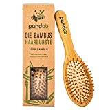 Cepillo para el pelo con cerdas naturales. Vegano y respetuoso con el medio ambiente. Cepillo natural con cerdas de bambú para conseguir un pelo bonito en hombres, mujeres y niños, de Pandoo