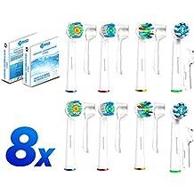 8 Pack cabezales de cepillo Oral B Paquete de la variedad de FlossAction, 3D, CrossAction y Flexisoft suave cabezas del cepillo compatible con asas cepillos de dientes eléctricos de Oral-B. by Soniwhite®