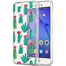 Funda Huawei P8 Lite 2017, Eouine Cárcasa Silicona 3d Transparente con Dibujos Suave Gel TPU Impresión Patrón Bumper Case Cover Fundas para Movil Huawei P8Lite 2017 (Cactus)