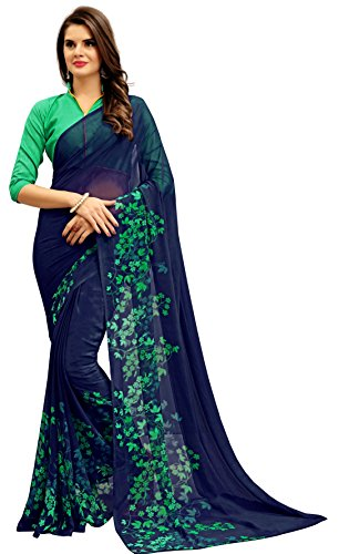 Navya Women's Georgette Saree With Blouse Piece (Nav315_Multi-Coloured)