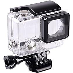 flycoo funda cubierta impermeable con lente para GoPro Hero 3+ Hero 4Cámara de acción con tornillo de fijación y Base protección submarina 45m