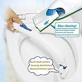Wuyue Hua Brosse de Toilettes Lavable - en Coton pur - avec 12 Têtes de Recharge pour la Désinfection , Plastique, bleu, Toilet brush suit