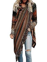 45f313387f02a5 Minetom Damen Poncho Cape Mit Rollkragen Strickpullover Strickjacke Cardigan  Unregelmäßig Sweater Herbst Winter Gestrickt Umhang