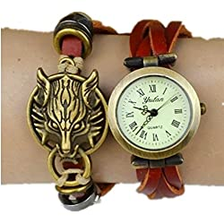 Fashion Base Classic Elegant Leather Strap Wolf Head Pendant Bracelet Watches Coffee