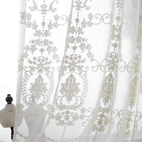LYDM Tenda da Ricamo Pannelli di Tende di Cotone di Lino Bianco in Tende Tende Classiche per Le Ragazze per Soggiorno Camera da Letto Balcone 1 pz