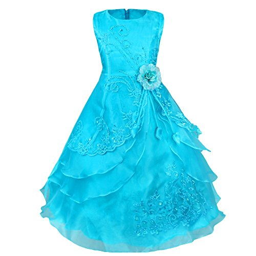 YiZYiF Maxi Robe Enfant Fille Habillé Mariage Demoiselle d'Honneur Soirée Bleu 7-8 ans