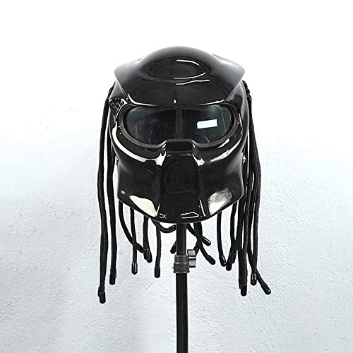 Carbon Fiber Full Face Casco Moto, Predator Helmets Street Equitazione Halley Scorpion Mask con luci a LED Uomini e Donne Casco Four Seasons, DOT Approved