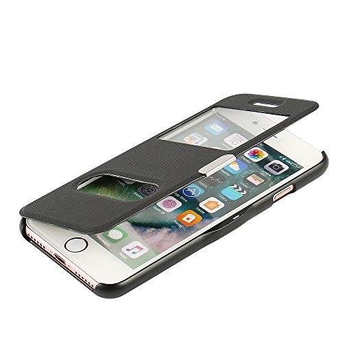 iPhone 5s Hülle, iPhone 5 Hülle, iPhone SE Hülle, MTRONX Case Cover Schutzhülle Tasche Etui Klapphülle Dual Fenster-Ansicht Magnetisch Twill PU Leder Dünn Folio Flip für Apple iPhone SE iPhone 5s iPho Schwarz