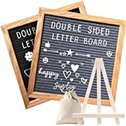 Double Sided Felt Letter Board with Rustic Wood Frame,439 Precut White Letters,Months & Days & Script