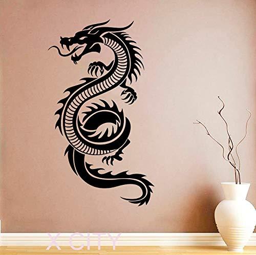 YuanMinglu Chinesischer Drache Wandaufkleber Kunst orientalische Mythologie Decals Vinyl Home Interior Design Wandbild Wohnzimmer Dekoration 154.5X87CM