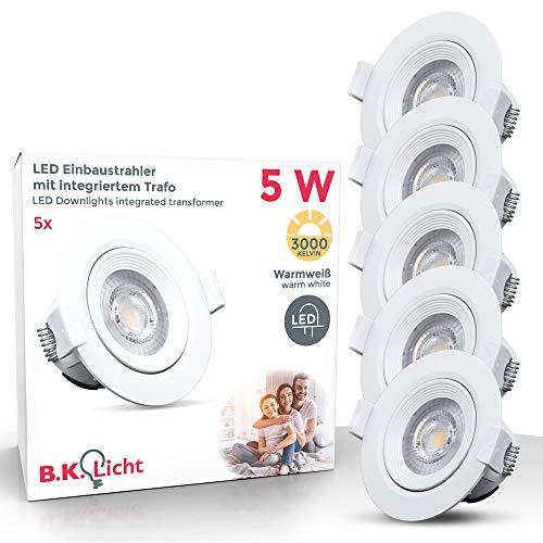 B.K.Licht - Set de 5 focos LED empotrables y orientables para interiores,...
