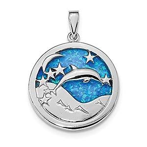 26,6mm Sterling Silber Rhodiniert Blau Inlay Simulierte Opal Delfine Anhänger