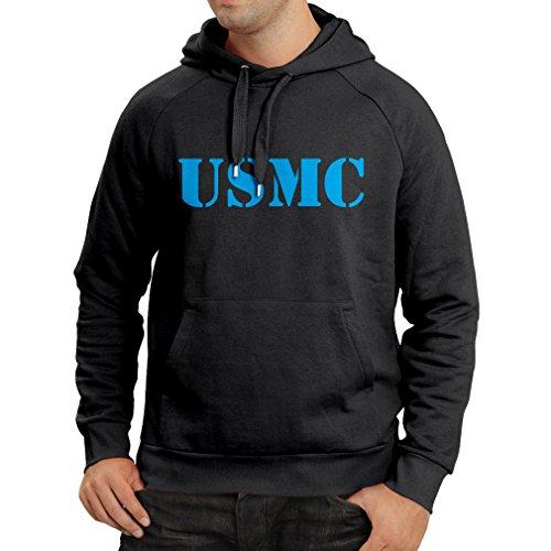 Kapuzenpullover USMC Emblem, Marine Corps, Marines Logo, US Navy Armed Forces (X-Large Schwarz Blau)