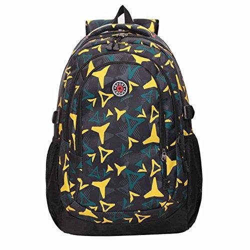 AllureFeng Outdoor-Bergsteigen Tasche Rucksack Mode Freizeit männliche und weibliche High-School-Schüler Rucksäcke Wanderrucksäcke bright yellow