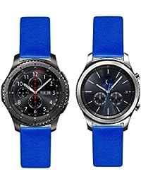 Francés azul 'Royal' piel reloj–correa para reloj de repuesto para Samsung Gear S3frontera–Classic. Fabricado en Francia