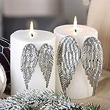 1 x Kerzenstecker Wings Metall silber f. feststecken an Kerzen Höhe 10 cm, Flügel, Engel, Weihnachten